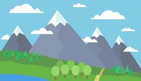 Il percorso alle montagne Immagini Stock