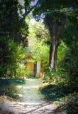Il percorso fra gli alberi alla vecchia casa a fondo Fotografia Stock