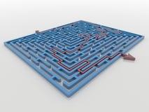 Il percorso rosso della freccia attraverso Maze Labyrinth blu 3D rende, soluzione Co Illustrazione di Stock