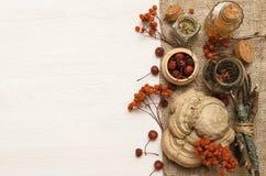 Il perforatum di erbe di Medicine La ricetta Concetto della medicina alternativa Ingridients naturali organici della bacca asciut immagine stock
