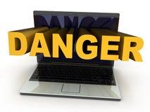 Il pericolo del computer portatile Fotografie Stock Libere da Diritti
