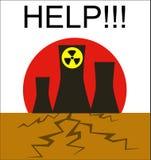 Il pericolo delle stazioni di energia nucleare alla natura Immagini Stock