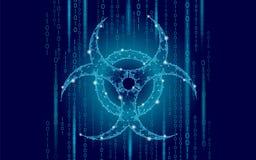 Il pericolo di attacco del virus di web del computer Avvertimento sicuro di sicurezza di informazioni di dati di allarme di epide illustrazione di stock