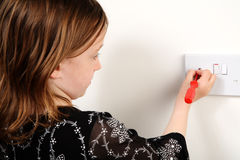 Il pericolo di scossa elettrica Fotografia Stock