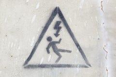 Il pericolo elettrico del segnale Fotografia Stock Libera da Diritti