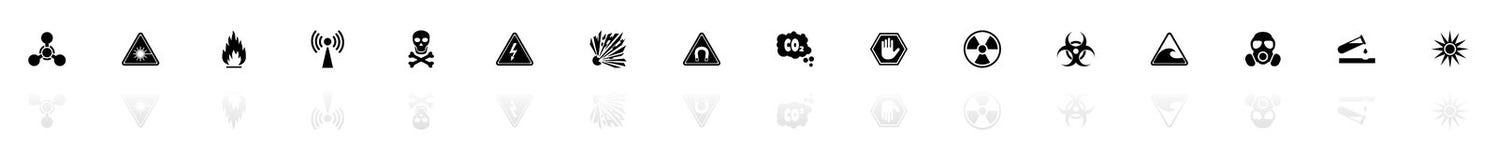 Il pericolo - icone piane di vettore illustrazione di stock