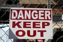 Il pericolo mantiene fuori Fotografia Stock