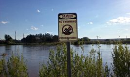 Il pericolo nessun segno del fiume di nuoto Fotografia Stock Libera da Diritti