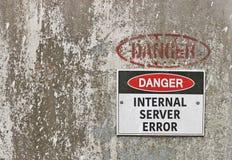 Il pericolo, segnale di pericolo interno di errore di server Fotografia Stock