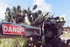 Il pericolo sulla strada sotto il cielo blu Fotografie Stock Libere da Diritti
