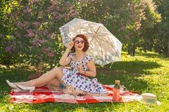 Il perno felice dai capelli rossi sulla ragazza in vestito d'annata dall'estate e sulle calze classiche con una cucitura nella pa fotografie stock libere da diritti