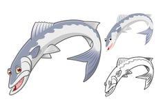 Il personaggio dei cartoni animati del barracuda di alta qualità comprende la progettazione e la linea piane Art Version Immagini Stock Libere da Diritti