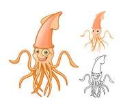 Il personaggio dei cartoni animati del calamaro di alta qualità comprende la progettazione e la linea piane Art Version Fotografie Stock Libere da Diritti