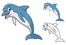 Il personaggio dei cartoni animati del delfino di alta qualità comprende la progettazione e la linea piane Art Version Immagini Stock