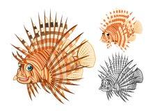 Il personaggio dei cartoni animati del Lionfish di alta qualità comprende la progettazione e la linea piane Art Version Fotografia Stock Libera da Diritti