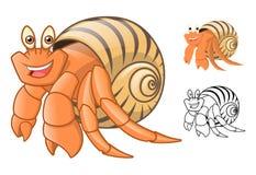 Il personaggio dei cartoni animati del paguro di alta qualità comprende la progettazione e la linea piane Art Version Fotografia Stock