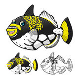 Il personaggio dei cartoni animati del pesce balestra nero di alta qualità comprende la progettazione e la linea piane Art Versio Immagine Stock