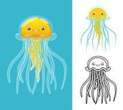 Il personaggio dei cartoni animati delle meduse di alta qualità comprende la progettazione e la linea piane Art Version Immagine Stock Libera da Diritti