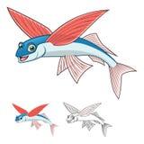 Il personaggio dei cartoni animati di Flyingfish di alta qualità comprende la progettazione e la linea piane Art Version Immagine Stock