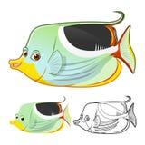 Il personaggio dei cartoni animati di pesce angelo della sella di alta qualità comprende la progettazione e la linea piane Art Ve Fotografia Stock Libera da Diritti