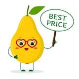 Il personaggio dei cartoni animati giallo sveglio della frutta della pera di Kawaii in vetri rossi del cuore nelle mani del piatt illustrazione di stock