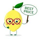 Il personaggio dei cartoni animati sveglio del limone in vetri rossi del cuore, nelle mani del piatto è il migliore prezzo illustrazione vettoriale