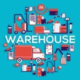 Il personale del magazzino mette i carichi, la scatola, pacchetto ed i pacchetti circondano il concetto Illustrazione di vettore  Fotografia Stock