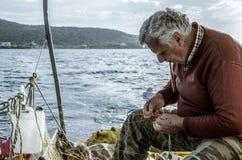 Il pescatore anziano Fotografia Stock Libera da Diritti