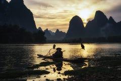 Il pescatore cormant nel fiume del Li Fotografie Stock Libere da Diritti