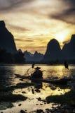 Il pescatore cormant nel fiume del Li Immagini Stock Libere da Diritti