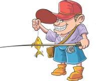 Il pescatore del fumetto ha pescato un pesce Immagine Stock