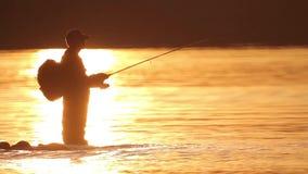 Il pescatore pesca un pesce Bagni il vostro cane video d archivio