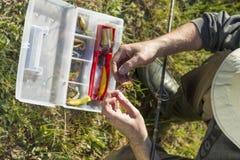 Il pescatore sceglie un'esca di gomma dalla scatola Immagine Stock Libera da Diritti