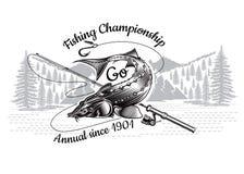 Il pesce dello storione piega la siluetta con la canna da pesca attraversata con paesaggio nello stile engrving Logo per la pesca royalty illustrazione gratis