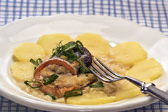 Il pesce dello svizzero arriva a fiumi la salsa di vino bianco Immagine Stock