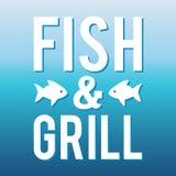 Il pesce e la griglia del menu dei frutti di mare identificano/distintivo Immagini Stock Libere da Diritti