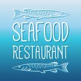 Il pesce e la griglia del menu dei frutti di mare identificano/distintivo Fotografia Stock Libera da Diritti