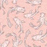 Il pesce rosa di Koi della pesca profila con swirly struttura disegnata a mano del colpo della spazzola nei precedenti Reticolo s royalty illustrazione gratis