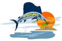 Il pesce vela del Pacifico che salta nel tramonto illustrazione vettoriale