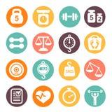 Il peso e la forma fisica hanno colorato l'insieme dell'icona Fotografie Stock Libere da Diritti