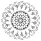 il petali rotondo gradisce la linea decorativa icona della mandala Immagine Stock