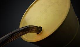 Il petrolio o l'olio sta versando fuori dal barilotto giallo 3D ha reso l'illustrazione Immagine Stock