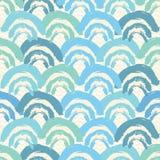 Il pettine pieno o le squame disegnato a mano blu e verde ripete il fondo senza cuciture del modello Perfezioni per il tessuto, p illustrazione vettoriale