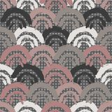 Il pettine pieno o le squame disegnato a mano rosa e marrone ripete il fondo senza cuciture del modello Perfezioni per il tessuto illustrazione di stock