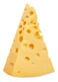 Il pezzo perfetto di formaggio svizzero isolato su fondo bianco w Fotografia Stock