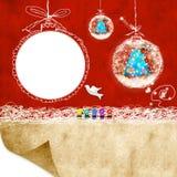 Il photoframe dei bambini della cartolina di Natale Fotografia Stock