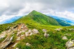 Il più alta montagna dell'Ucraina Hoverla 2061 m. Cresta di Chornogora, Ucraina Fotografia Stock