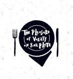 Il piacere di varietà sul vostro piatto illustrazione di stock