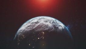 Il pianeta Terra del grafico con l'alone ed il sole va sotto l'orizzonte illustrazione di stock