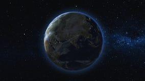 Terra Realistica Girante Nello Spazio Contro Lo Sfondo Del Cielo